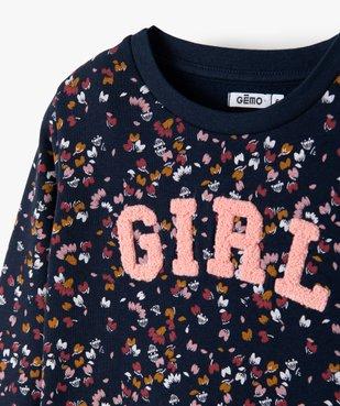 Sweat fille fleuri avec inscription en maille bouclette vue2 - GEMO (ENFANT) - GEMO