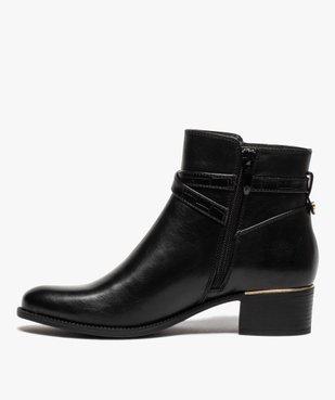 Boots femme unis à talon carré et finitions métallisées vue3 - GEMO (CASUAL) - GEMO