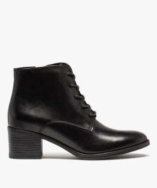 Boots femme à talon dessus cuir uni fermeture lacets vue1 - GEMO(URBAIN) - GEMO
