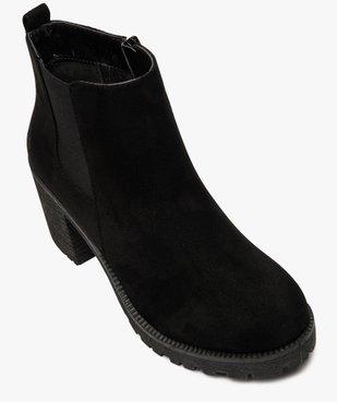Boots femme à talon et semelle crantée en suédine unie vue5 - GEMO(URBAIN) - GEMO