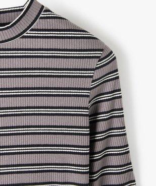 Tee-shirt fille rayé à manches longues et col montant vue2 - GEMO C4G FILLE - GEMO
