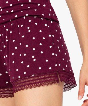 Short de pyjama femme en maille fluide avec bas en dentelle vue2 - Nikesneakers(HOMWR FEM) - Nikesneakers