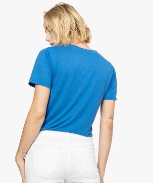 Tee-shirt femme imprimé à manches courtes et col V vue3 - FOLLOW ME - GEMO