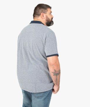 Polo homme à larges rayures en coton piqué vue3 - GEMO (G TAILLE) - GEMO