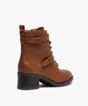 Boots femme unies à talon avec lacets et brides vue4 - GEMO(URBAIN) - GEMO