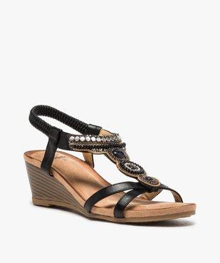 Sandales femme à talon et brides élastiques dessus perles vue2 - GEMO(URBAIN) - GEMO