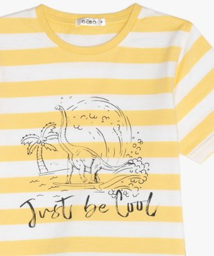 Pyjashort garçon avec haut rayé et motif dinosaure vue2 - GEMO (ENFANT) - GEMO