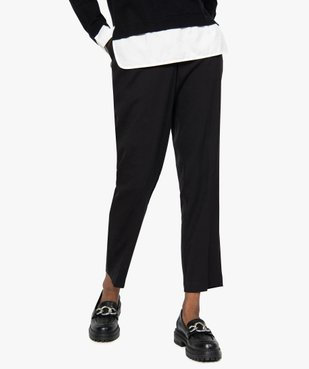 Pantalon femme aspect lainage avec taille élastiquée vue1 - GEMO(FEMME PAP) - GEMO