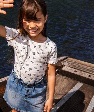 Tee-shirt fille en maille côtelée avec finitions froncées vue4 - GEMO C4G FILLE - GEMO