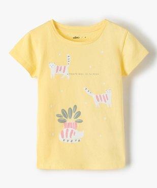 Tee-shirt fille à manches courtes avec motifs pailletés vue1 - GEMO C4G FILLE - GEMO