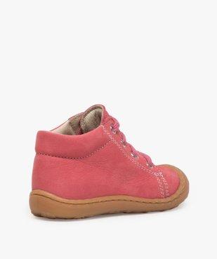 Chaussures premiers pas bébé fille en cuir à lacets vue4 - Nikesneakers(BEBE DEBT) - Nikesneakers