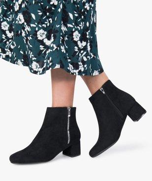 Boots femme à petit talon avec zip décoratif sur le côté vue1 - GEMO(URBAIN) - GEMO