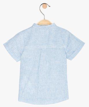 Chemise bébé garçon rayée à col mao en lin et coton vue3 - GEMO(BEBE DEBT) - GEMO