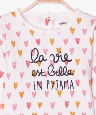 Pyjama bébé 2 pièces motif cœurs vue2 - GEMO C4G BEBE - GEMO
