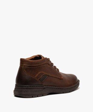 Boots homme à lacets dessus cuir uni  vue4 - GEMO (CASUAL) - GEMO