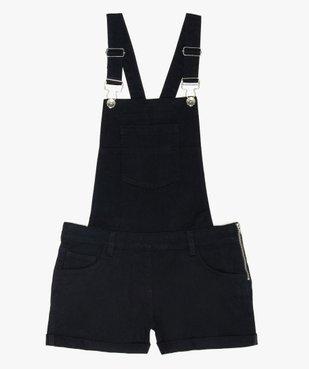 Salopette courte fille en jean noir vue1 - GEMO (JUNIOR) - GEMO