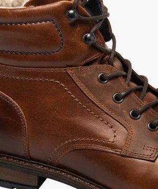 Boots homme à lacets dessus cuir et intérieur polaire vue6 - GEMO (CASUAL) - GEMO