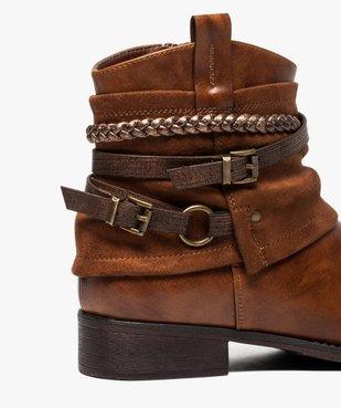 Boots femme talon plat zippés à brides décoratives vue6 - Nikesneakers (CASUAL) - Nikesneakers