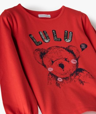 Tee-shirt fille avec motif et sequins brodés – Lulu Castagnette vue2 - LULUCASTAGNETTE - GEMO
