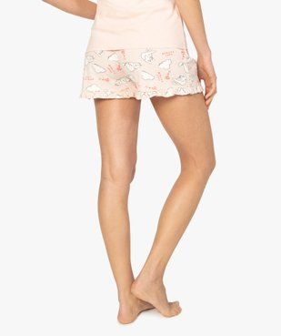 Short de pyjama femme imprimé à petits volants dans le bas motif chats all over vue3 - Nikesneakers(HOMWR FEM) - Nikesneakers