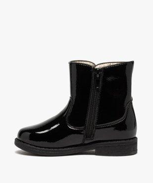 Boots fille vernies avec pompons sur le côté vue3 - GEMO (ENFANT) - GEMO