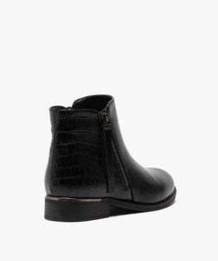 Boots femme unis à talon plat imitation croco vue4 - GEMO (CASUAL) - GEMO