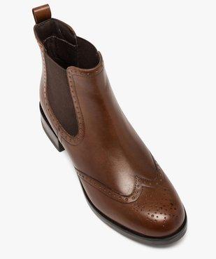 Boots femme style chelsea unis à bout fleuri vue5 - GEMO (CASUAL) - GEMO