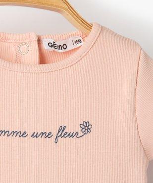 Tee-shirt bébé fille en maille côtelée  vue2 - GEMO C4G BEBE - GEMO