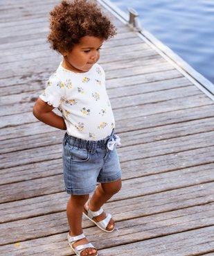 Tee-shirt bébé fille en maille côtelée  vue5 - GEMO C4G BEBE - GEMO