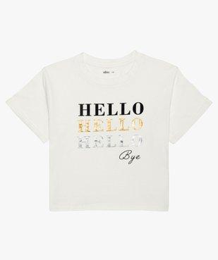 Tee-shirt fille court avec message scintillant vue2 - GEMO (JUNIOR) - GEMO