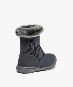 Boots bébé fille à doublure polaire décor papillon vue4 - GEMO(BEBE DEBT) - GEMO
