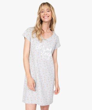 Chemise de nuit femme imprimée à manches courtes vue1 - GEMO(HOMWR FEM) - GEMO