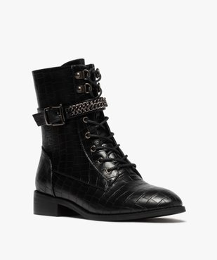 Boots femme unis à talon plat imitation croco style rock vue2 - GEMO (CASUAL) - GEMO