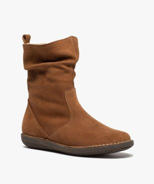 Boots fourrées femme à talon plat dessus cuir retourné uni vue2 - GEMO (CASUAL) - GEMO