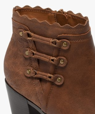 Boots femme unis à talon finitions fantaisie vue6 - GEMO(URBAIN) - GEMO