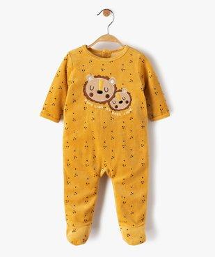 Pyjama dors-bien bébé garçon en velours avec motifs lions vue1 - GEMO(BB COUCHE) - GEMO