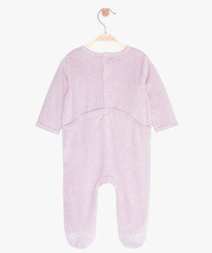 Pyjama bébé fille en velours à pont-dos pressionné vue3 - GEMO(BB COUCHE) - GEMO