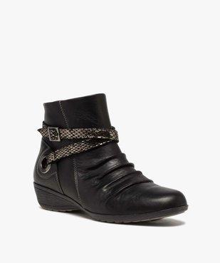 Boots femme confort à talon compensé dessus drapé vue2 - GEMO (CASUAL) - GEMO