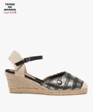 Sandales femme en toile à talon compensé – Terre de Marins vue1 - TERRE DE MARINS - GEMO