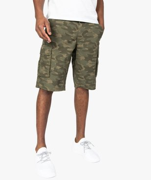 Bermuda homme en toile fine à motif camouflage vue1 - GEMO (HOMME) - GEMO