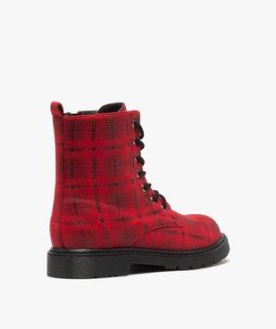 Boots femme rangers à semelle crantée lacets contrastés Dessus à carreaux vue4 - GEMO (CASUAL) - GEMO