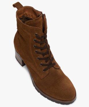 Boots femme à talon carré dessus cuir retourné uni vue5 - GEMO(URBAIN) - GEMO