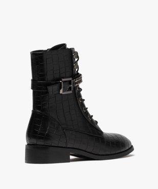 Boots femme unis à talon plat imitation croco style rock vue4 - GEMO (CASUAL) - GEMO