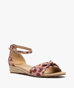 Sandales femme à petit talon compensé et dessus drapé vue2 - GEMO (CASUAL) - GEMO