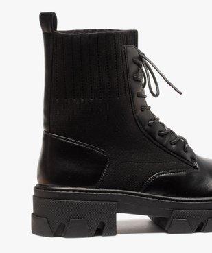 Boots femme unies à semelle crantée et col en maille vue6 - GEMO (CASUAL) - GEMO