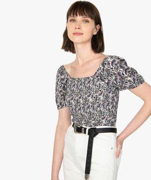 Tee-shirt femme avec buste smocké et manches ballon vue1 - GEMO(FEMME PAP) - GEMO