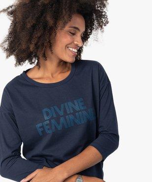 Tee-shirt femme à manches ¾ avec message vue2 - GEMO(FEMME PAP) - GEMO