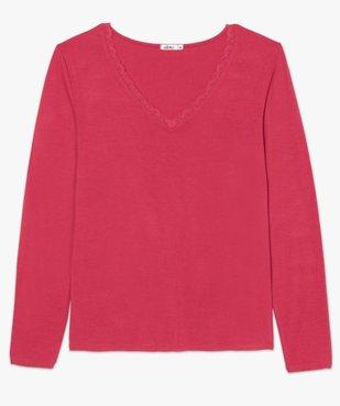 Tee-shirt femme à manches longues et col V en dentelle vue4 - GEMO(FEMME PAP) - GEMO