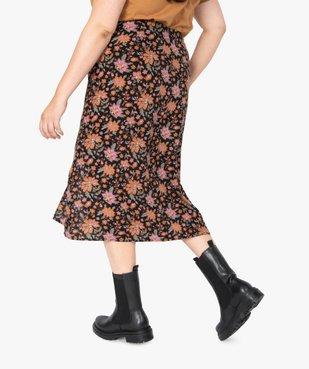 Jupe femme fendue sur l'avant à motifs fleuris vue3 - GEMO (G TAILLE) - GEMO