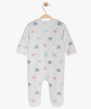 Pyjama bébé en velours à motifs éléphants multicolores vue2 - GEMO(BB COUCHE) - GEMO